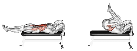 Lying Flat Bench Knee Raises
