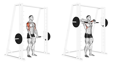 Narrow Grip Smith Machine Upright Row