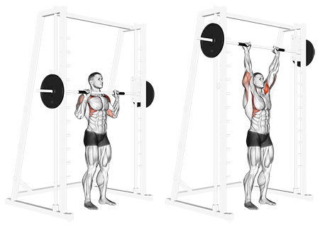 Standing Smith Machine Shoulder Press