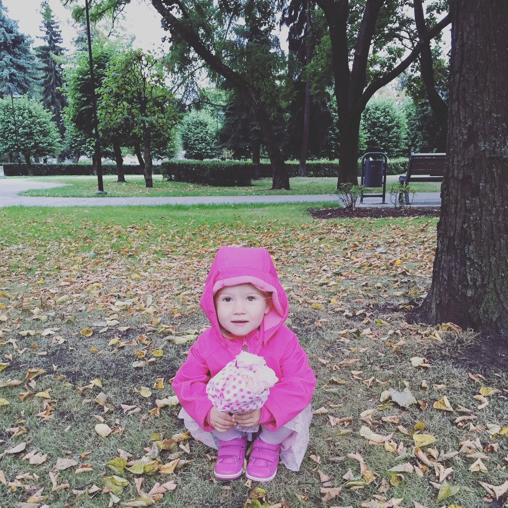Ieva striking a pose on her way to preschool this morning.