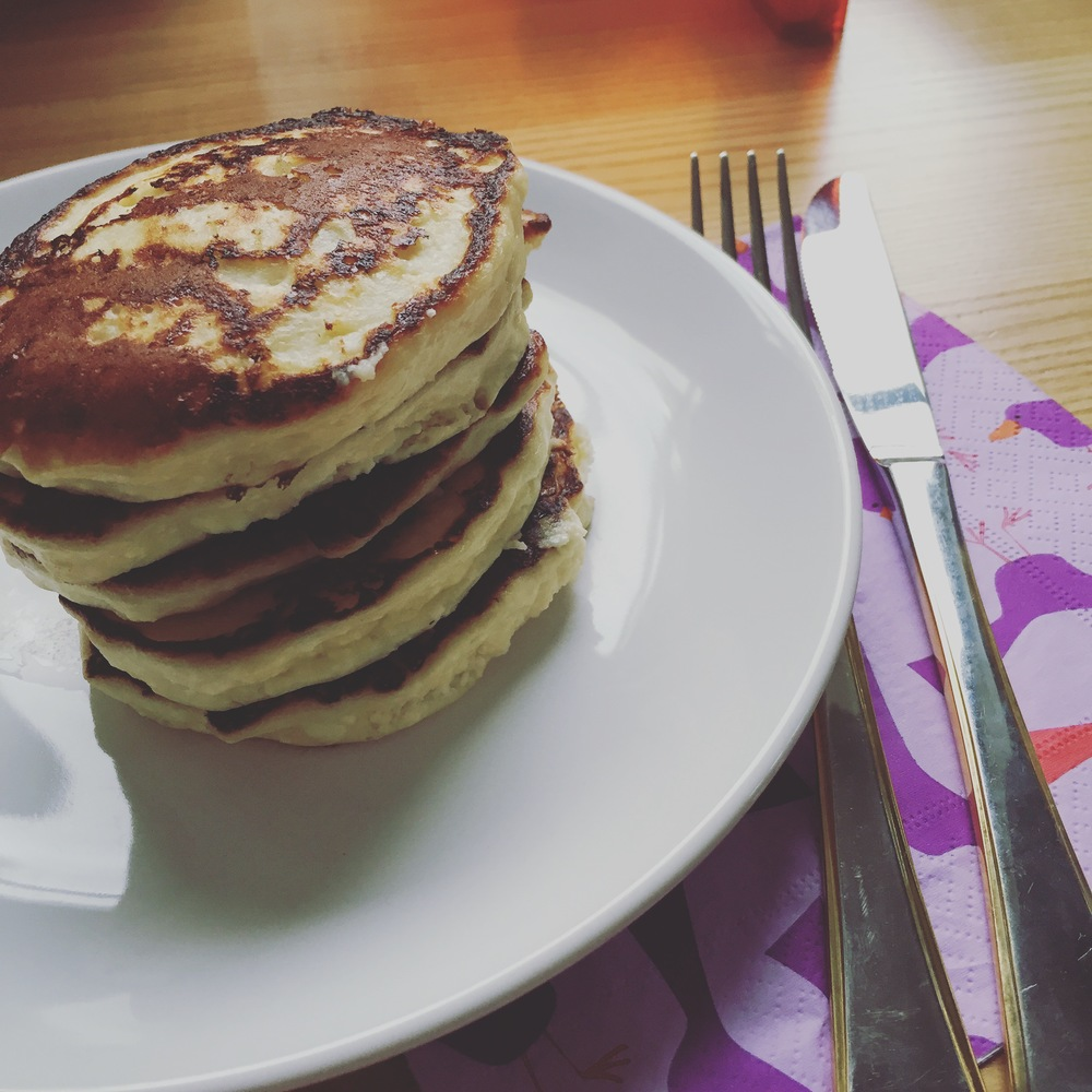 Cottage cheese pancakes for breakfast.