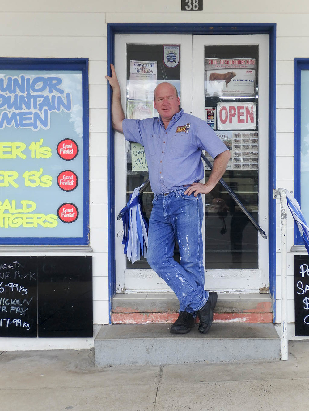 'Jason, the Springsure butcher, in front of his shop.' Photo by Angus Iwers.