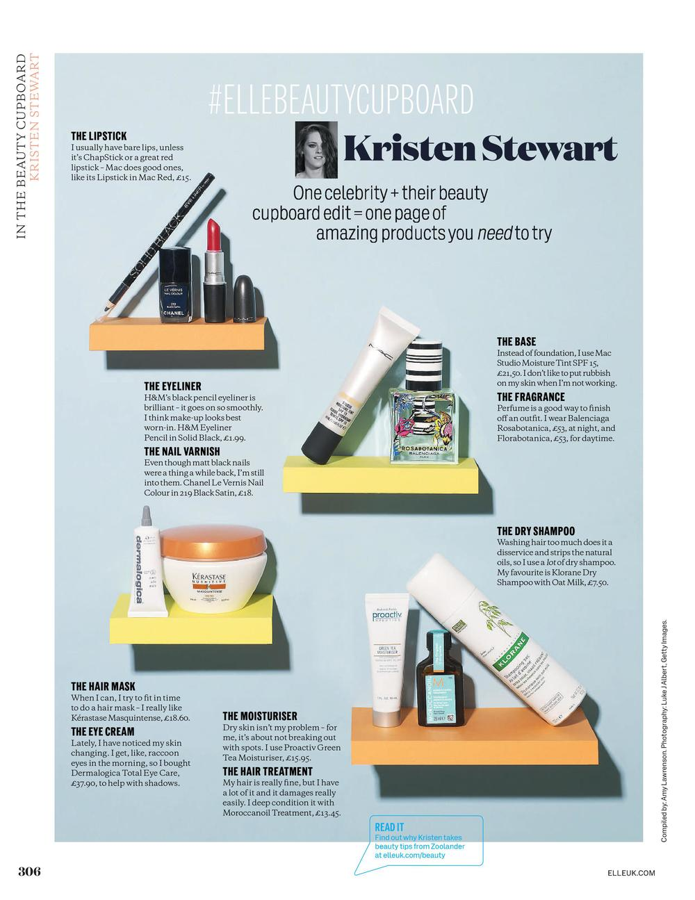 ELLE Beauty Cupboard: Kristen Stewart