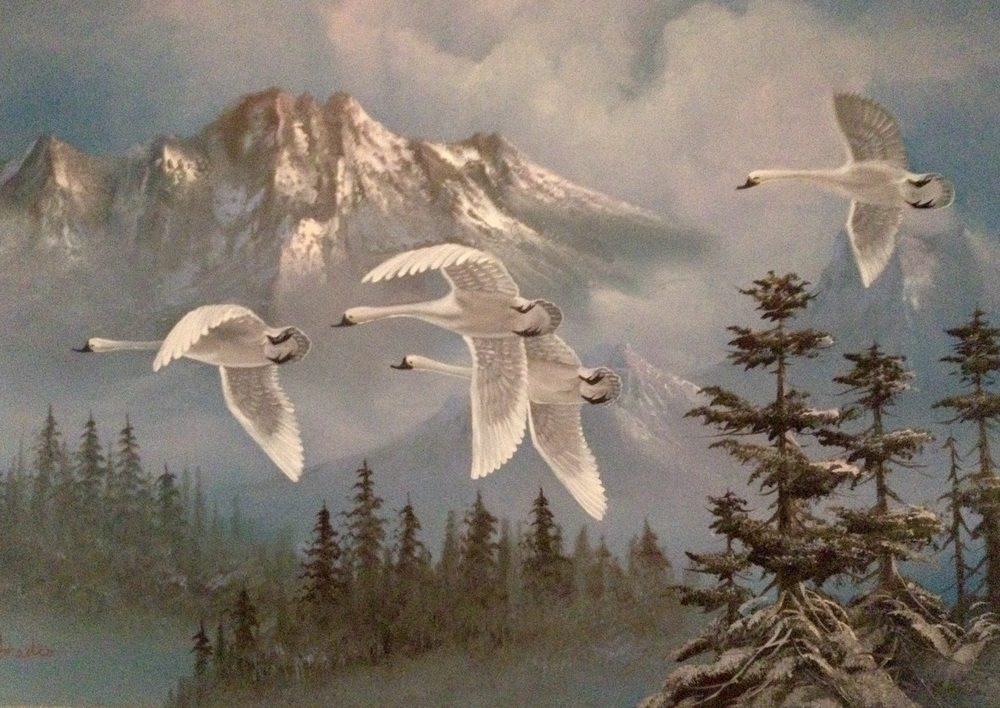 Winter scene with geese art in my son's room.