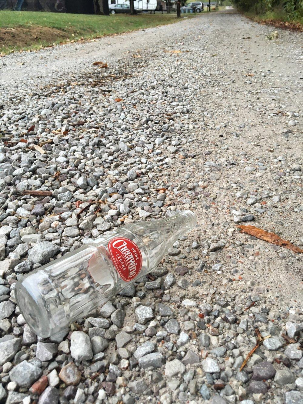 Glass Bottle on a Gravel Road - Original Frantic Finch