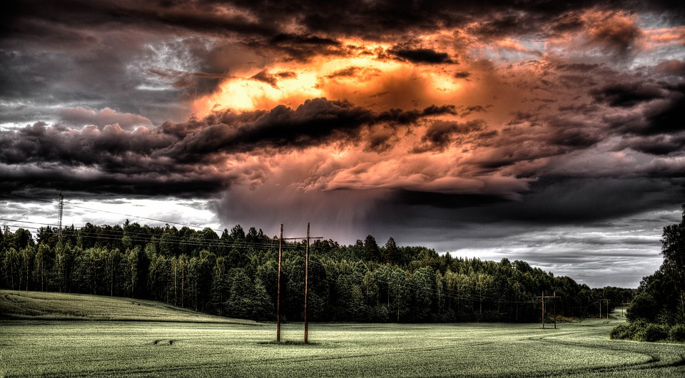storm cloud across a field