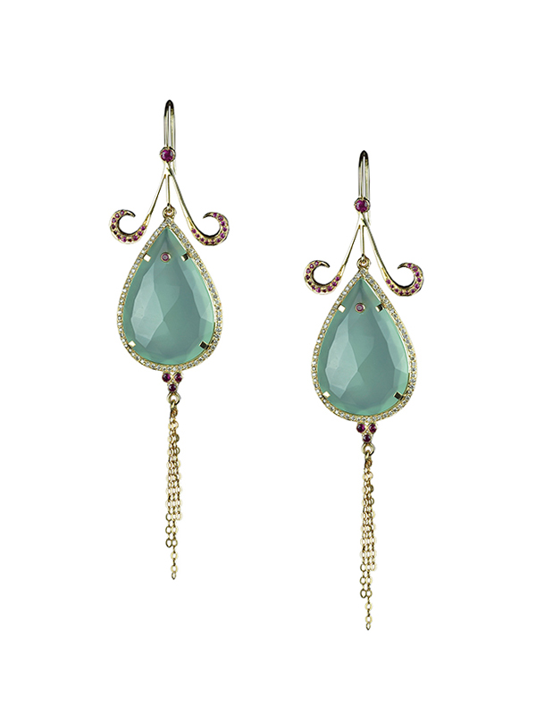 Chalcedony Tear Drops Encircled with Diamonds with Ruby and Gold Chain Detailing