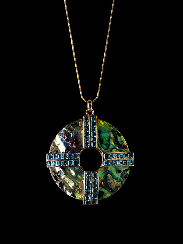 Abalone Shell Medallion with Blue Topaz