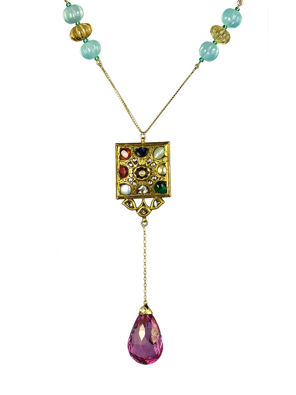 Kundan Pink Topaz Pranite and Topaz Necklace