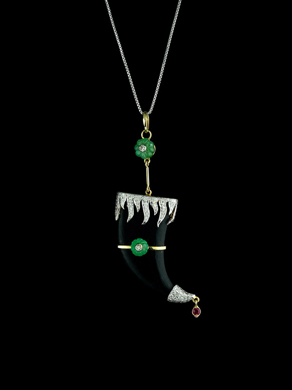 Black Onyx, with Columbian Emerald, and Diamond Flame Motif Claw Pendant
