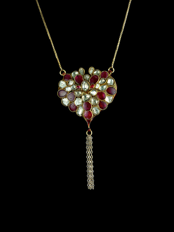 Ruby and Diamond Kundan Heart Pendant