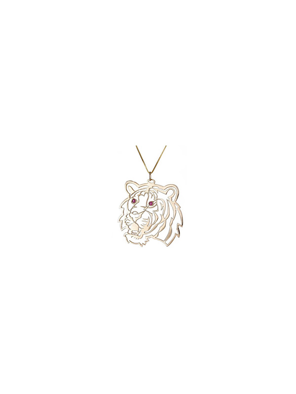Gold Cutwork Tiger Pendant with Ruby Eyes