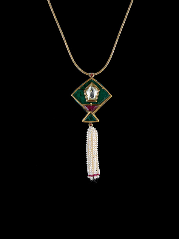 Emerald Pendant with Diamonds and Ruby's