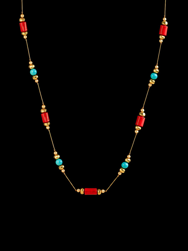Coral, Turquoise and Gold Bead Santa Fe Sautoir
