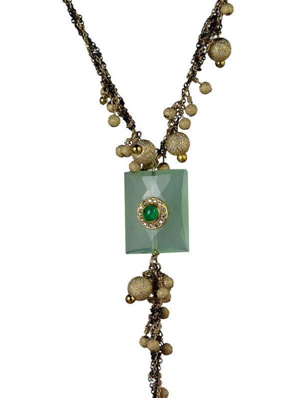 Pranite Rectangular Pendant with Cabochon Emeralds and Diamond Necklace with Black and Gold Chains and Gold Pom Pom Balls