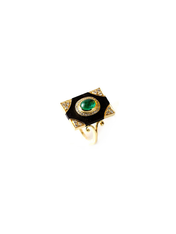 Black Onyx Base with Cabochon Emeralds and Diamond Detailing