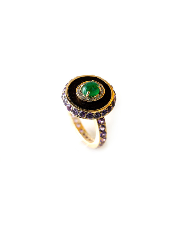 Lavender Sapphires, Cabochon Emerald and Diamond Circular Ring