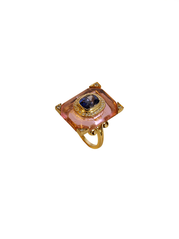 Pink Crystal with a Burmese Sapphire with Diamond Detailing