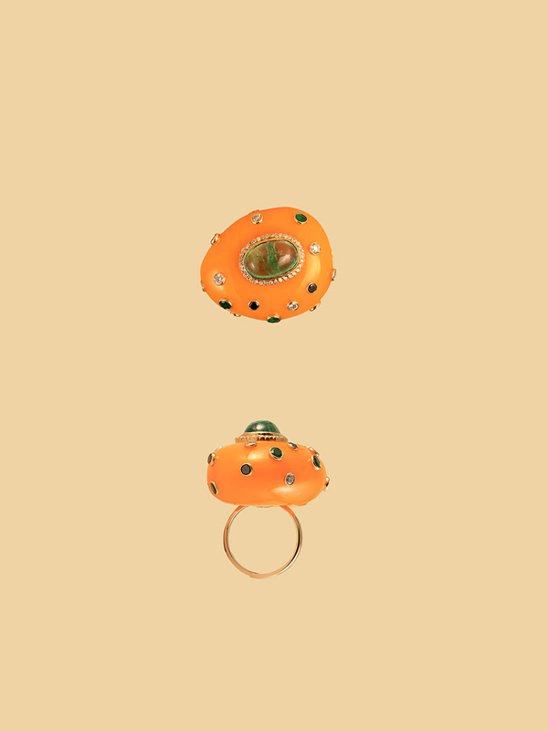 Amber, Emerald and Diamond Imperial Ring