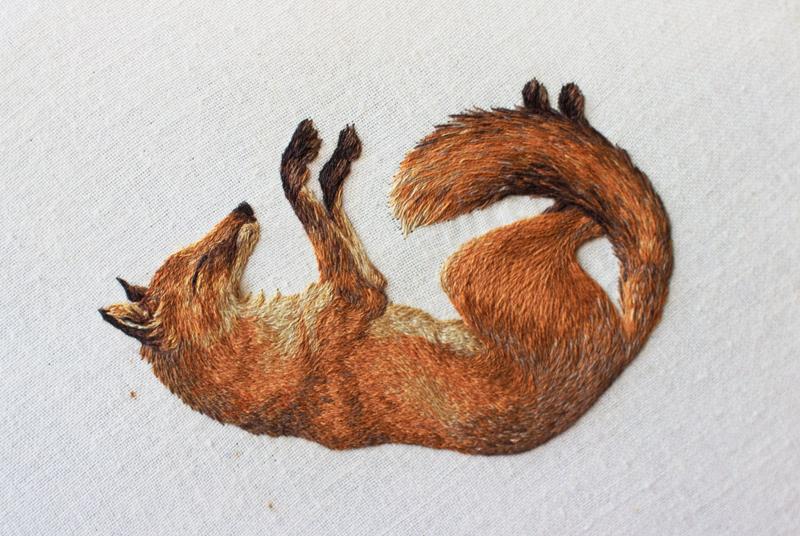 Embroidery Art Stitched Sleeping Fox Chloe Giordano