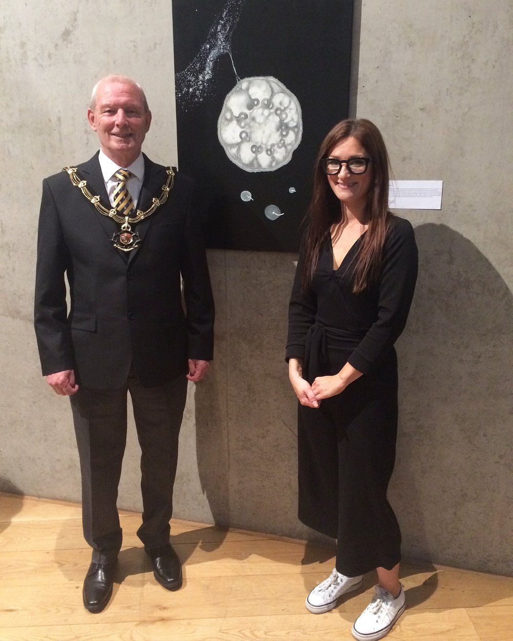 Sheriff of Nottingham Glynn Jenkins and me at Nottingham Contemporary exhibiting 'Cilia Black; Surprise, Surprise' for Pint Of Science Festival 2017