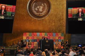 ICC Secretary General John Danilovich addresses participants at the Sustainable Development Goals Business Forum during the UN High Level Political Forum