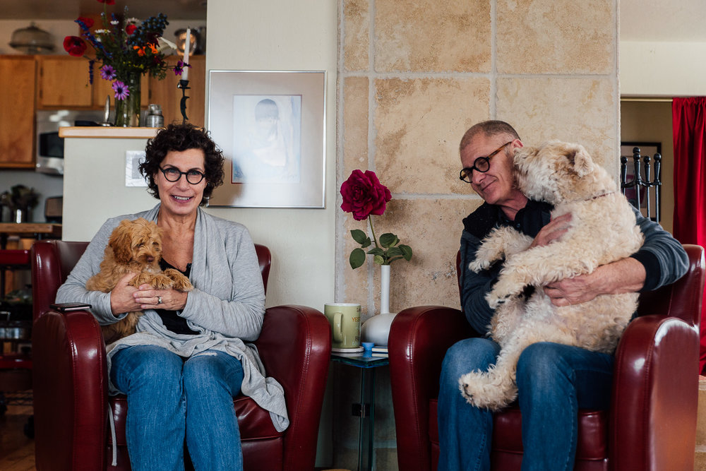 Mara, her husband Stewart and their dogs at home in Sonoma County.