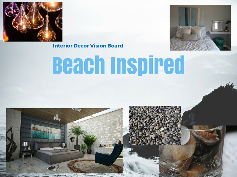 Beach inspired bedroom vision board