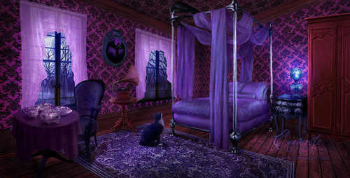 Purple Vintage Gothic Bedroom