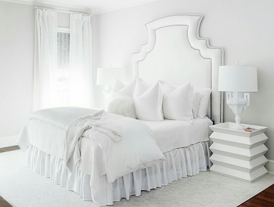 Beautiful pure white bedroom.