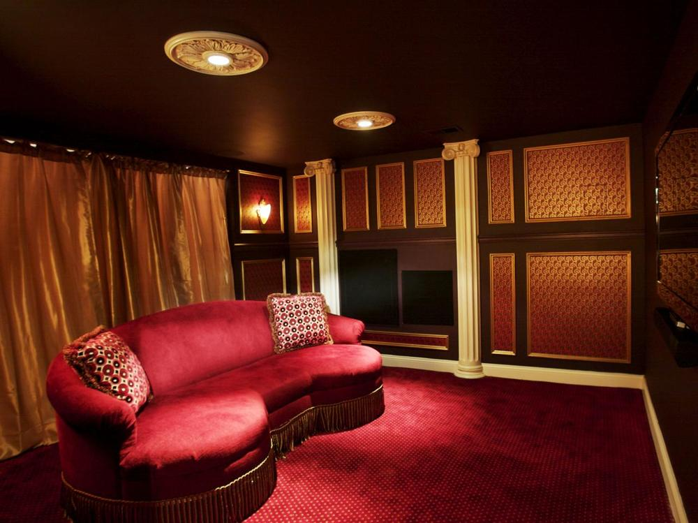 Design By: Nancy Leffler Mikulich Gold and wine, gold and burgundy home theatre