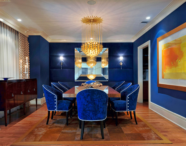 Design by: Caroline Mills electric blue and burgundy dining room