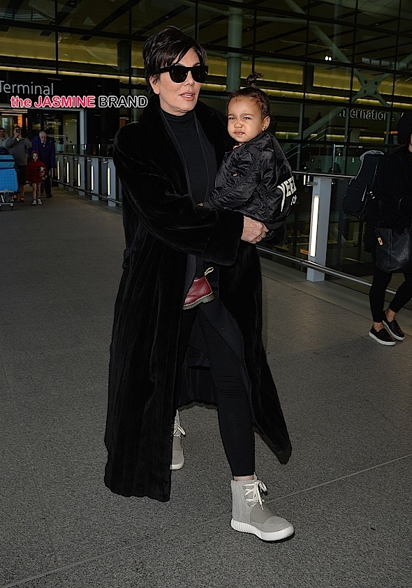 Kris Jenner and North West arriving at Heathrow airport.