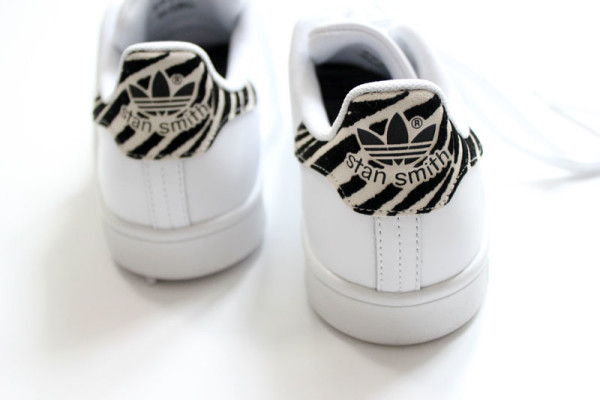 adidas stan smith white sneakers zebra print minimal trainers