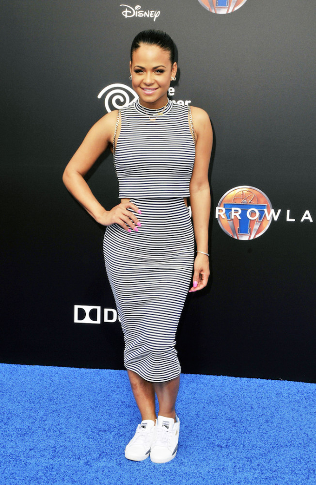 Christina Milian shows off her new tattoo at the world premiere of Disney's 'Tomorrowland' at Disneyland in Anaheim