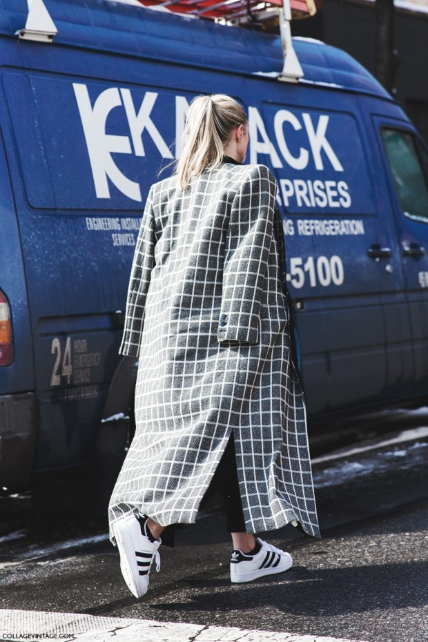New_York_Fashion_Week-Fall_Winter_2015-Street_Style-NYFW-Checked_Coat-Adidas_Superstar-Sneakers--790x1185