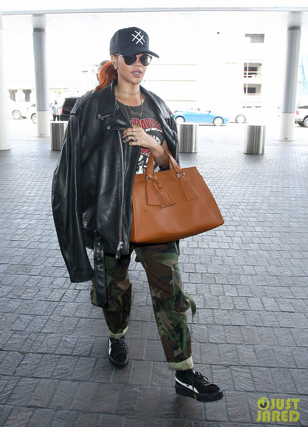 Rihanna in Camouflage Departs LAX Airport