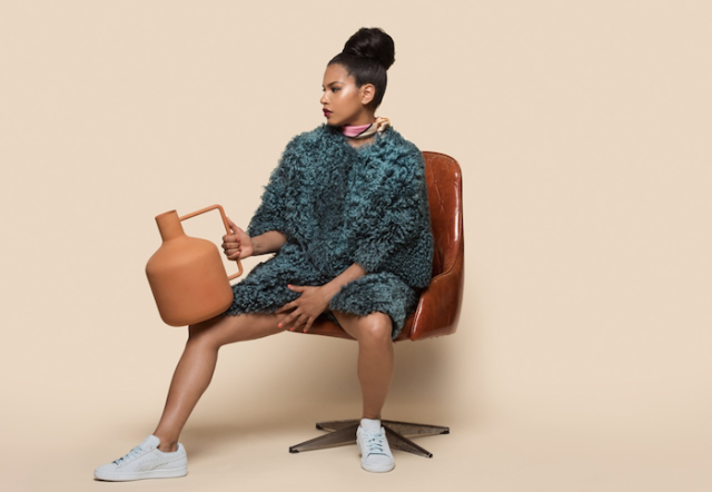Solange-x-Pumas-Word-to-the-Woman-Fall-2015-Collection-light-blue-suede-on-model-Mengly-2-700x483