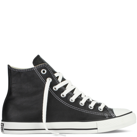 Chuck Taylor High in Black Leather, $70.00, available at  Converse