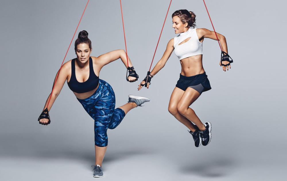 Above, on Graham: Sports bra, Lululemon Athletica, $52;Shop.Lululemon.com. Pants, Human Performance Engineering, $125;Bandier.com. Earring (on left), $175, and necklace, $425;MelissaJoyManning.com. Watch, $349;Apple.com. Gloves, $30 each;AKTInMotion.com. Sneakers, $120;Adidas.com. On Kaiser: Swim top, $52;AllSisters.com. Shorts, 9 2 5 Fit, $83;9Two5Fit.com. Blue bracelet, $78, and white bracelet (on top), $38;TheBraveCollection.com. Sneakers, $110;Nike.com