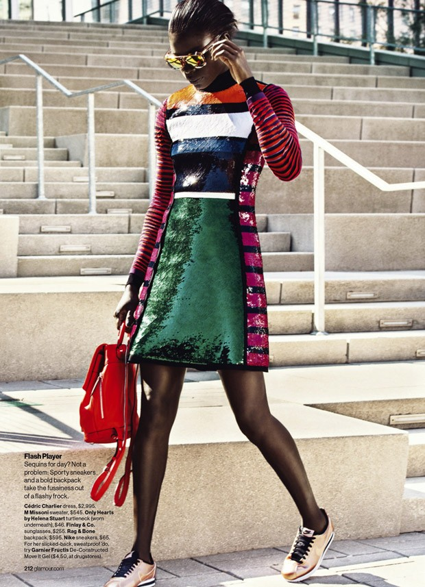 Cedric Charlier dress, $2,995, M Missoni Sweater, $545, Only Hearts by Helena Stuart turtleneck, $46, Nike Cortez, $65.
