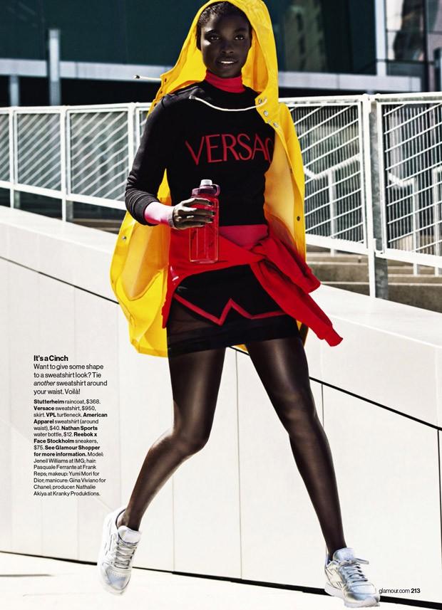 Stutterheim raincoat, $368, Versace sweatshirt, $950, American Apparel sweatshirt (waist), $40, Reebok x FACE Stockholm Classics, $75.