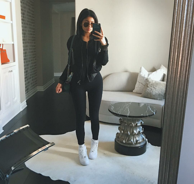 Kylie Jenner kept it basic in black paired with Nike Air Force 1 High in white.