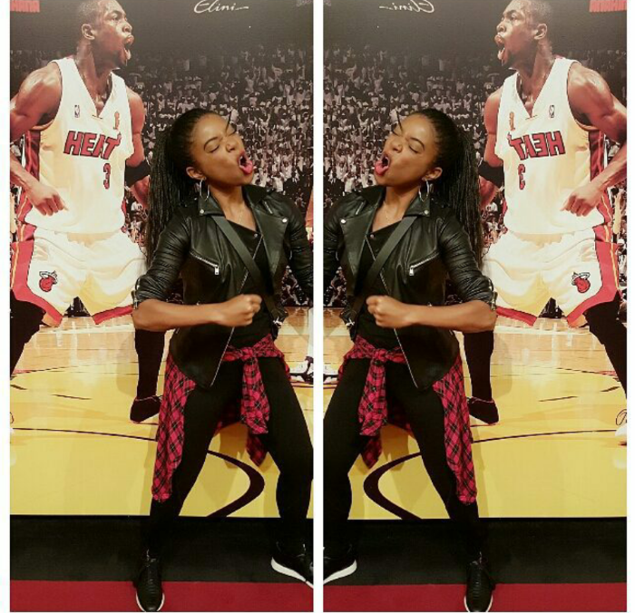Gabrielle Union cheered on hubby D. Wade with a swift impression and a cute pair of black high tops paired with leggings and leather.