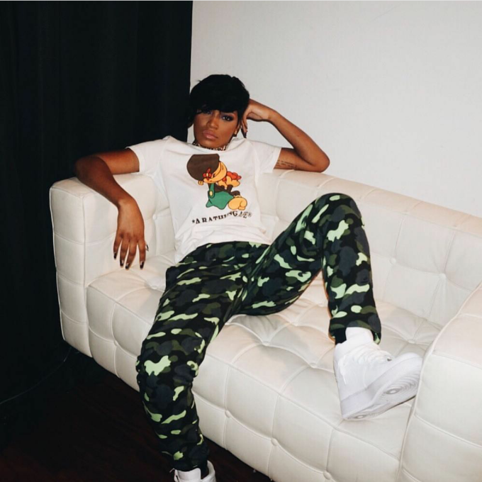 Keke Palmer was back to short hair and camo in a fresh pair of Nike Air Force 1 Highs.