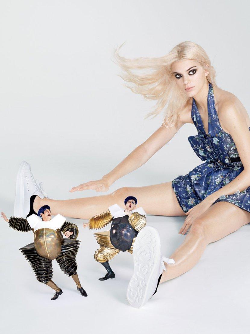 Photographed by Mert Alas & Marcus Piggott, Vogue, December 2015. Jenner in Alexander McQueen dress, belt, and sneakers.