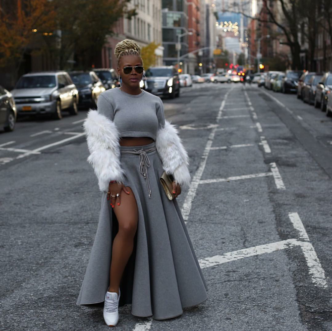 Legs! Yes! Fashion blogger Claire Sulmers was everything this turkey day in a killer skirt set and a pair of Reebok classics.