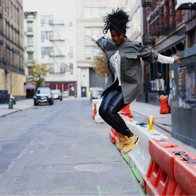 Brittany Skye jumped for joy in leather and Victor Cruz's latest Nike Air Cruz.
