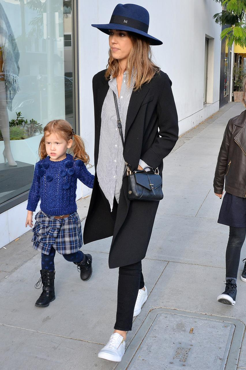 Jessica Alba went for a shopping trip wearing a gorgeous Maison Michel Virginie Hat in Navy and Vans Leather Old Skool Zip Sneakers in True White/Gold.