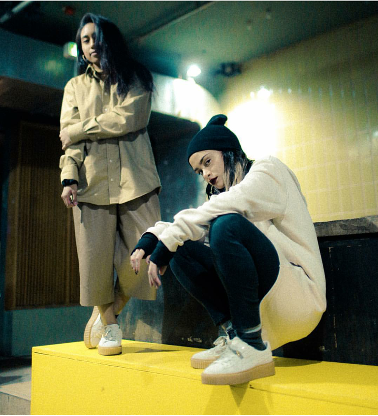 Kehlani and Noodles took a break in Berlin to snap a shot in their Puma x Rihanna 'Creeper' sneaks in white wheat.